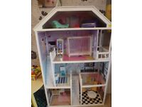 Lovely large dolls house complete with furniture, needs TLC £10