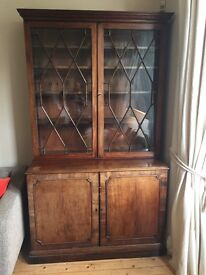 Glass fronted George 111 bookcase and cabinet