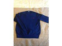 Ralph Lauren V Neck Mens Jumper Colour: Blue Size: XL