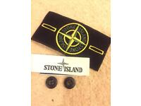Stone island badge with 2 button and label