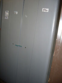 OFFICE FILING CABINET - LARGE 2-FOLDING DOORS LIGHT GREY - USED