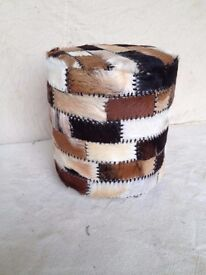 NEW GENUINE ROUND GOAT HIDE STOOL, HEIGHT 450MM, WIDTH 410MM