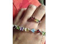 Genuine gem stone ring and bracelet