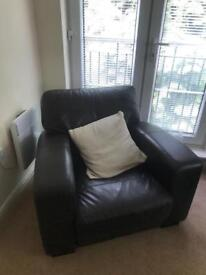 3 seater and chair in dark brown leather