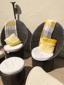 Rattan chairs and foot table