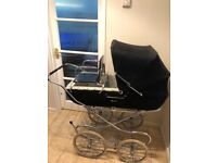 Vintage Coach Built Navy Blue Pram with Toddler Seat