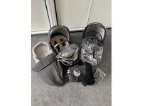 Egg Stroller/ Pram / Pushchair Pewter Grey with Carrycot, Newborn Insert & More