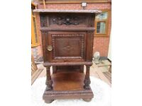 1900`S HIGHLY CARVED FRENCH OAK BRETON BEDSIDE WITH SMALL DRAWER