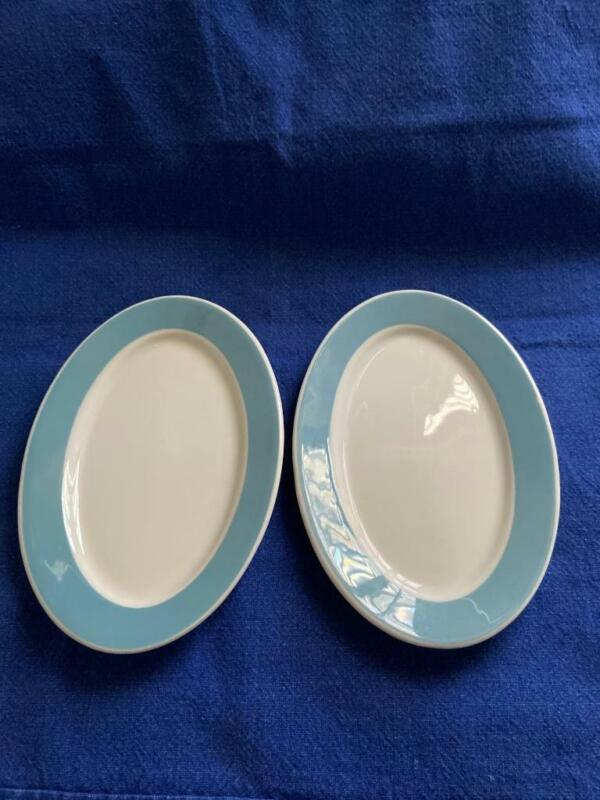 Vintage 2 Syracuse China Restaurant Small Oval Plates Light Blue Band 7""