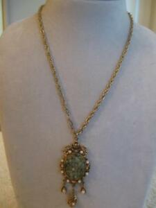 "GORGEOUS OLD VINTAGE 31"" OPEN-CHAIN GOLDTONE GEMMED PENDANT NECKLACE"
