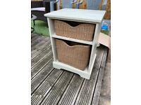Wooden Storage Unit with Wicker Baskets