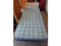 Single Fold Up Bed & Mattress with Wood Finish Headboard