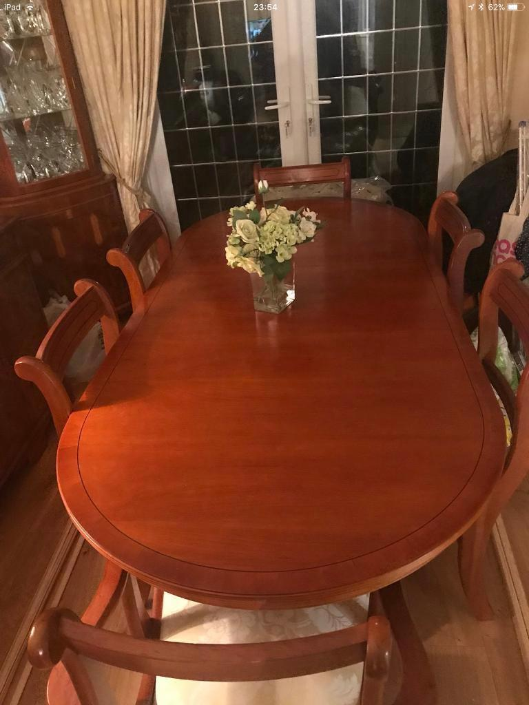 Yew Wood Dining Table And 6 Chairs