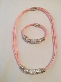 Baby Pink Necklace and Bracelet
