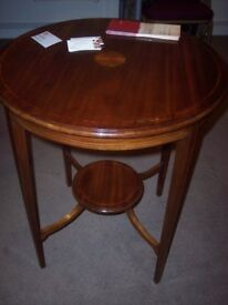 Sheraton coffee table c.1900. Round table, mahogany inlaid table, occasional, centre, lamp, wine.
