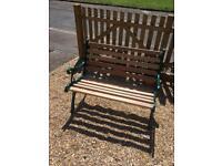 Vintage cast iron garden bench new mahogany slats