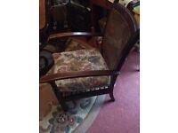 Solid oak rattenback nursing chair