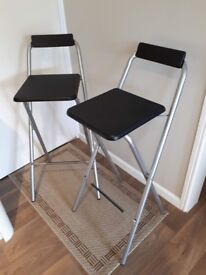 2 x Black and silver folding bar stools - as new, perfect condition
