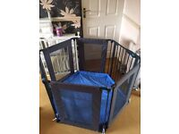 Lindam baby playpen - black with blue padded playmat - great condition