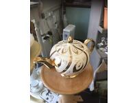 LOVELY VINTAGE WHITE AND GOLD TEA POT