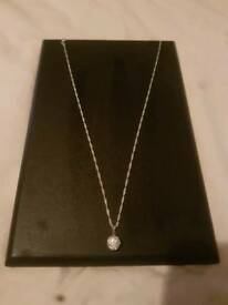 925 sterling silver crystal ball necklace