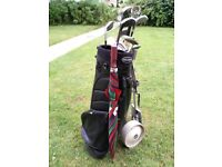 Golf clubs, trolley bag, umbrella, golf balls, Cufflinks OPEN to OFFER