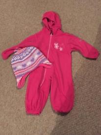 Regatta Girls 12-18 month Fleece All in One and Hat