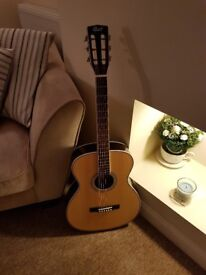 Cort L500-O NAT Luce Series Acoustic Guitar OM Body, Solid Spruce Top Flamed Maple and Rosewood