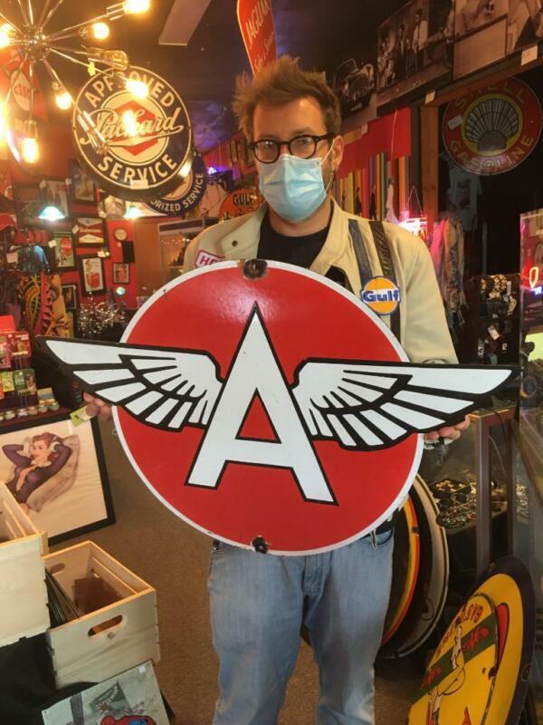 flying a gas tire beer motor gasoline oil dealer porcelain sign MAKE AN OFFER!2