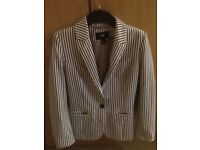H&M blue and white pinstriped blazor size 8