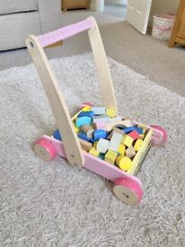 Baby walker wooden with building blocks bricks toy Early Learning Centre