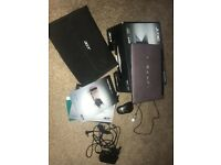 Purple laptop with accessories