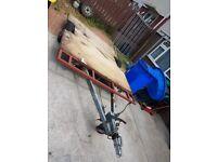 flat bed galvanized braked trailer