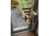 SOLID WOODEN HORSE BABY SWING - INDOORS OR OUTDOORS - AS NEW