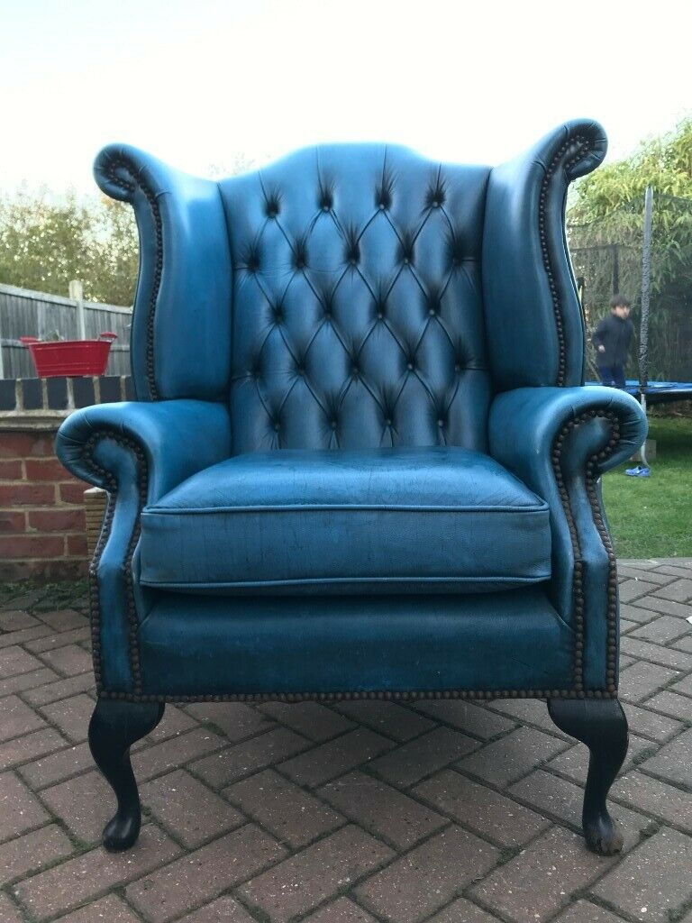 Strange Chesterfield Style Wing Queen Anne High Back Fireside Armchair Antique Blue Leather In Normandy Surrey Gumtree Inzonedesignstudio Interior Chair Design Inzonedesignstudiocom