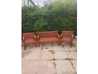 CHUNKY 2 SEATER BENCH AND 2 CHAIRS HEAVY