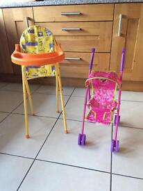 Dolls foldable high chair and pushchair buggy