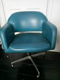 1960s 1970s vintage retro turquoise teal blue swivel office chair