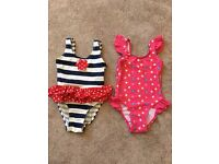 Two cute baby girls swimming suits 12-18m