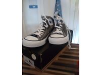 Size 7 brand new converse high tops in charcoal grey