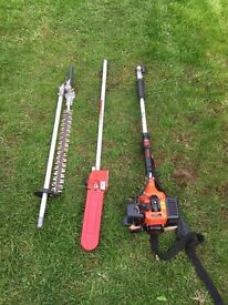 Long reach hedge trimmer and tree pruner