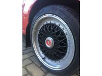 "Set of 4 16"" Lenso BSX Black Alloy wheels, 4x108 With Tyres"
