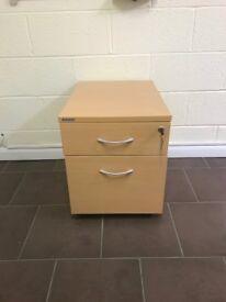 Office furniture - 2 Draw under desk unit - Light Oak - Lockable - Mobile