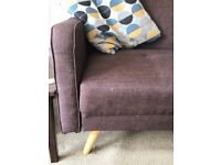 Brown Chou design by MADE double sofa bed , good condition