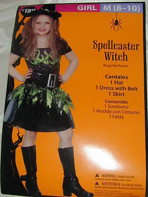 HALLOWEEN COSTUME Scary Spellcaster Witch Girls Hat Dress Belt Skirt M 8-10 NEW! (Scary Girls Halloween Costume)