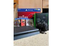 PS4 slim 500gb, boxed, controller 4 free games and kraken headset