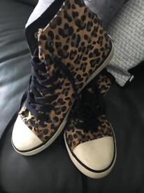GENUINE RALPH LAUREN HI TOP BOOTS TRAINERS BROWN LEOPARD ANIMAL PRINT SIZE 4 5