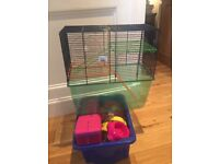 Large Hamster Cage with Wheel, feeding bottle and accessories
