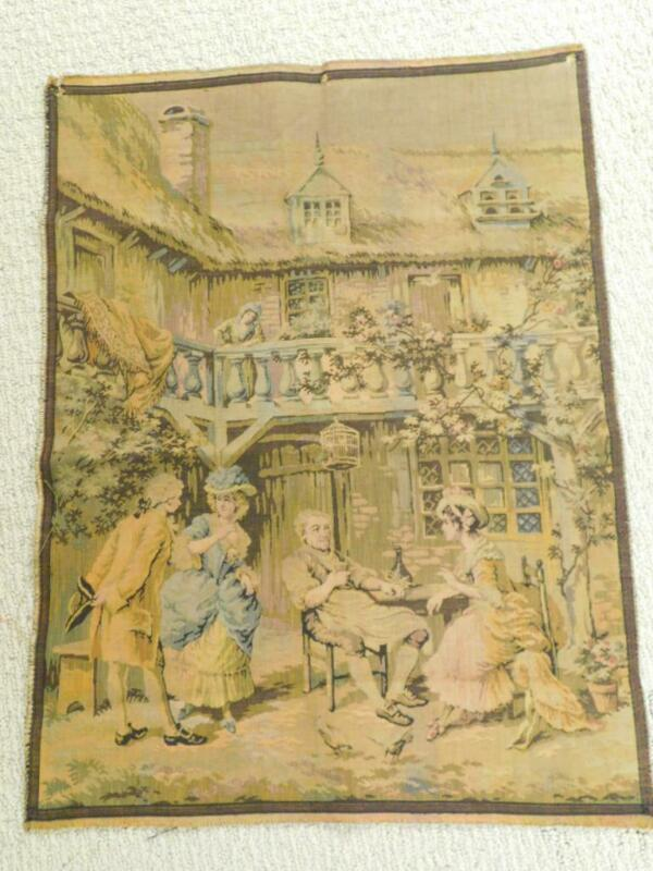 Antique Vintage French TAPESTRY Wall Hanging FRANCE Couples Men Women Old World