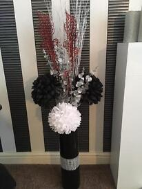 Vase+faux flowers+glitter branches!!